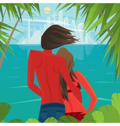 Couple on the island looking at a big city far vector