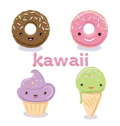 Cute Kawaii food characters set collections vector image vector image