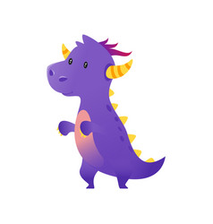 cute purple dragon vector image vector image
