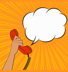 Female hand with telephone handset vector