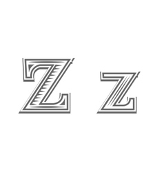 Font tattoo engraving letter z vector