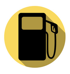 Gas pump sign flat black icon with flat vector