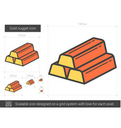 Gold nugget line icon vector