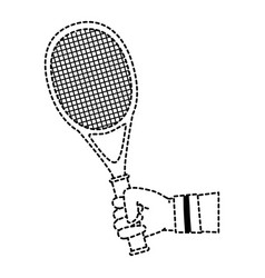 hand human with tennis racket vector image vector image