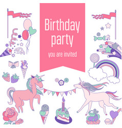 Happy birthday card with runicorn cake sweets vector