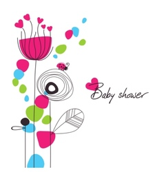 happy floral baby shower vector image vector image