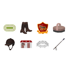 hippodrome and horse icons in set collection for vector image
