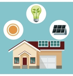 House traditional residence with solar panel-icons vector