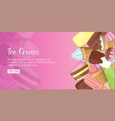 Ice cream shop banner horizontal cartoon style vector