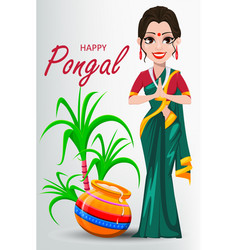 Indian girl with pot and sugarcane happy pongal vector