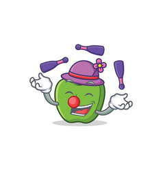 Juggling green apple character cartoon vector