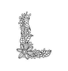Letter L coloring book for adults vector image vector image
