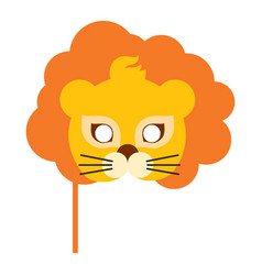 Lion animal carnival mask orange king of beast vector