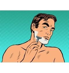 Man shaving foam vector