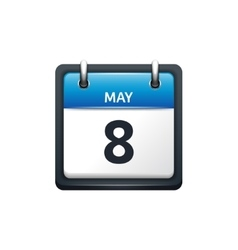May 8 calendar icon flat vector