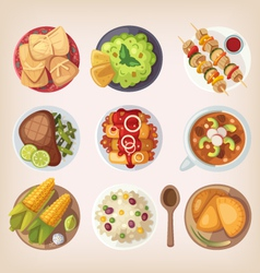 Mexican food icons vector