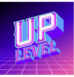 Neon lettering level up vector