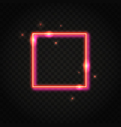 Neon red square frame with space for text vector
