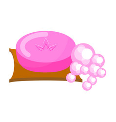 Pink soap with foam bubbles vector