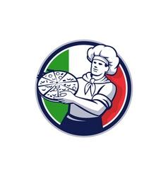 Pizza chef holding pizza italy flag circle retro vector