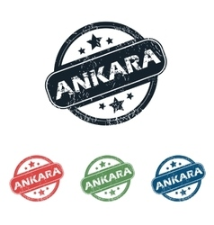 Round ankara city stamp set vector