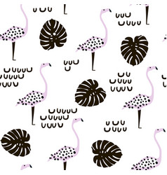 seamless modern pattern with flamingo and palm vector image vector image