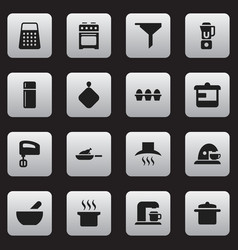Set of 16 editable cook icons includes symbols vector