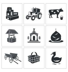 Village life icons set vector
