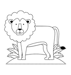 wild lion with bush jungle vector image