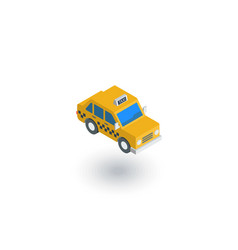 Yellow taxi car isometric flat icon 3d vector