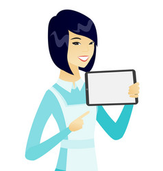 Young asian cleaner holding tablet computer vector