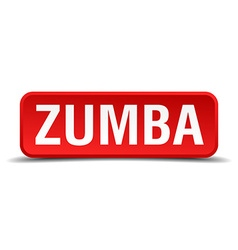 Zumba red 3d square button isolated on white vector