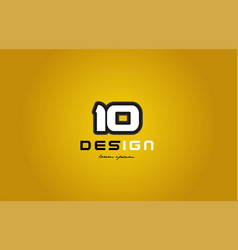 10 number numeral digit white on yellow background vector
