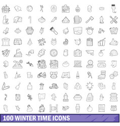 100 winter time icons set outline style vector