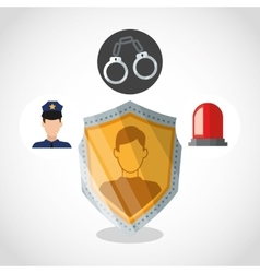 Policeman and security system design vector