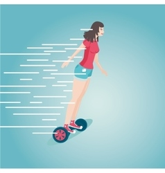 Girl is riding a gyro skooter Flat style cartoon vector image