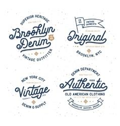 Denim typography t-shirt design set vector image