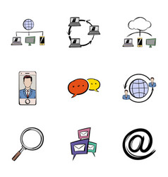 Conversation icons set cartoon style vector