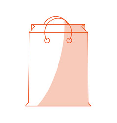 orange shading silhouette cartoon bag for shopping vector image