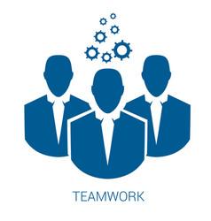 teamwork blue flat icon vector image