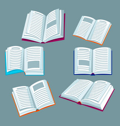 set of open books for education and vector image