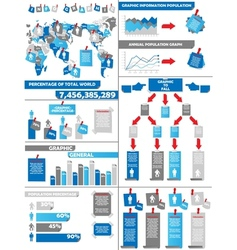 Infographic demographics post it blue vector