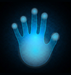 Technology cyber security hand palm binary vector