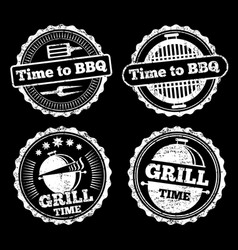 bbq and grill time grunge labels design vector image
