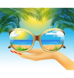 Sunglasses with reflection of the summer vector