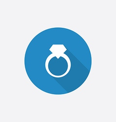 Jewelery ring flat blue simple icon with long vector