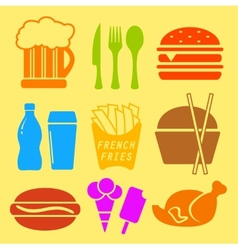 Fast food ingredient icon set vector