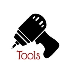 Icon of black drill with rechargeable battery vector image