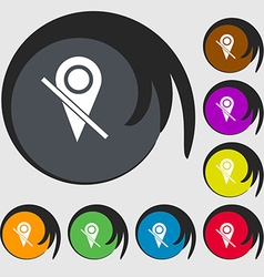 Map pointer icon sign symbols on eight colored vector