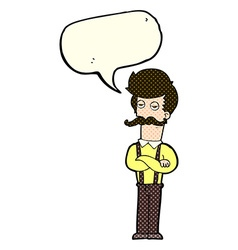 Cartoon man with mustache with speech bubble vector